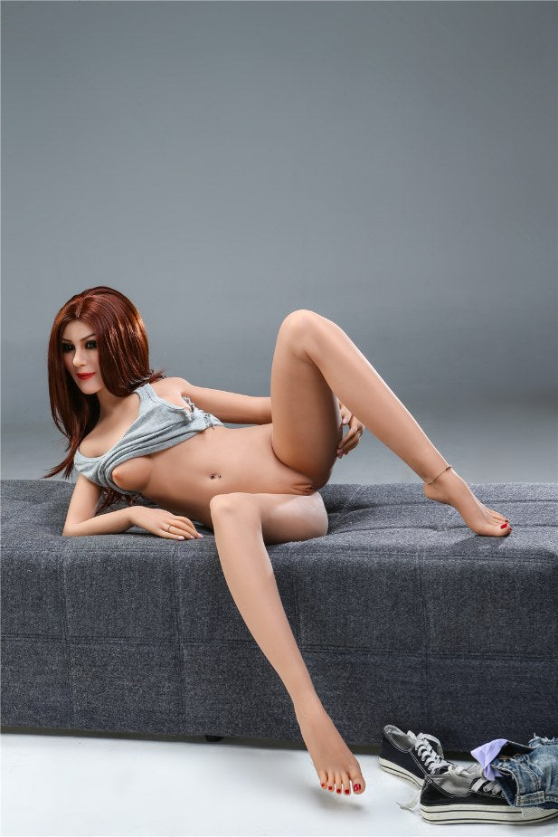 sharon 155cm skinny red hair flat chested tpe sex doll(5)