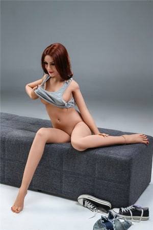 sharon 155cm skinny red hair flat chested tpe sex doll(8)