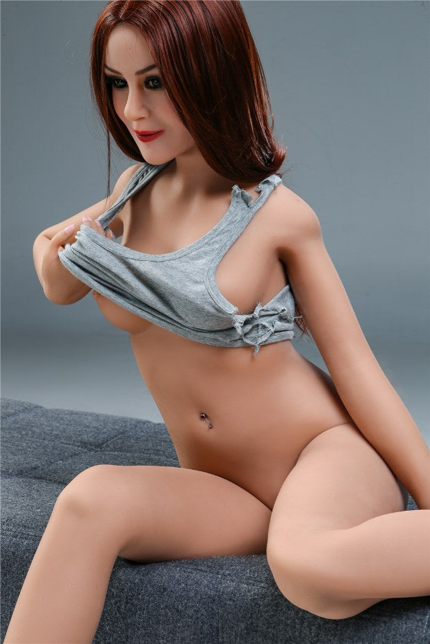 sharon 155cm skinny red hair flat chested tpe sex doll(9)