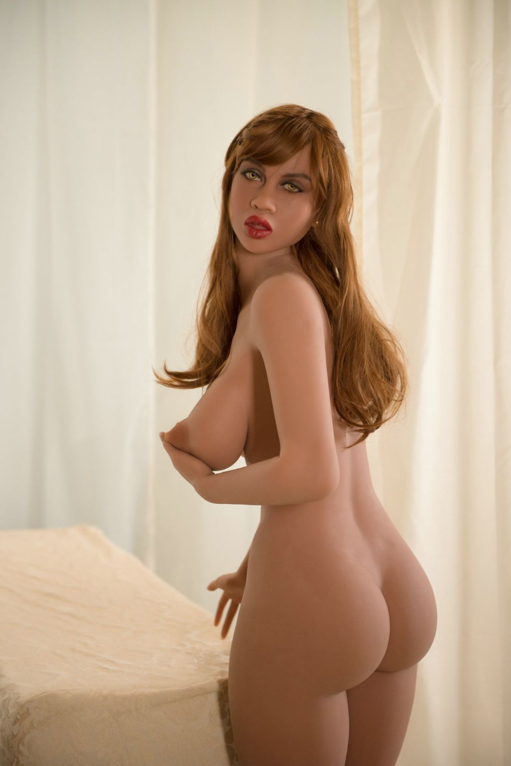 abby 157cm featured big boobs athletic red hair tan skin tpe yl sex doll(3)