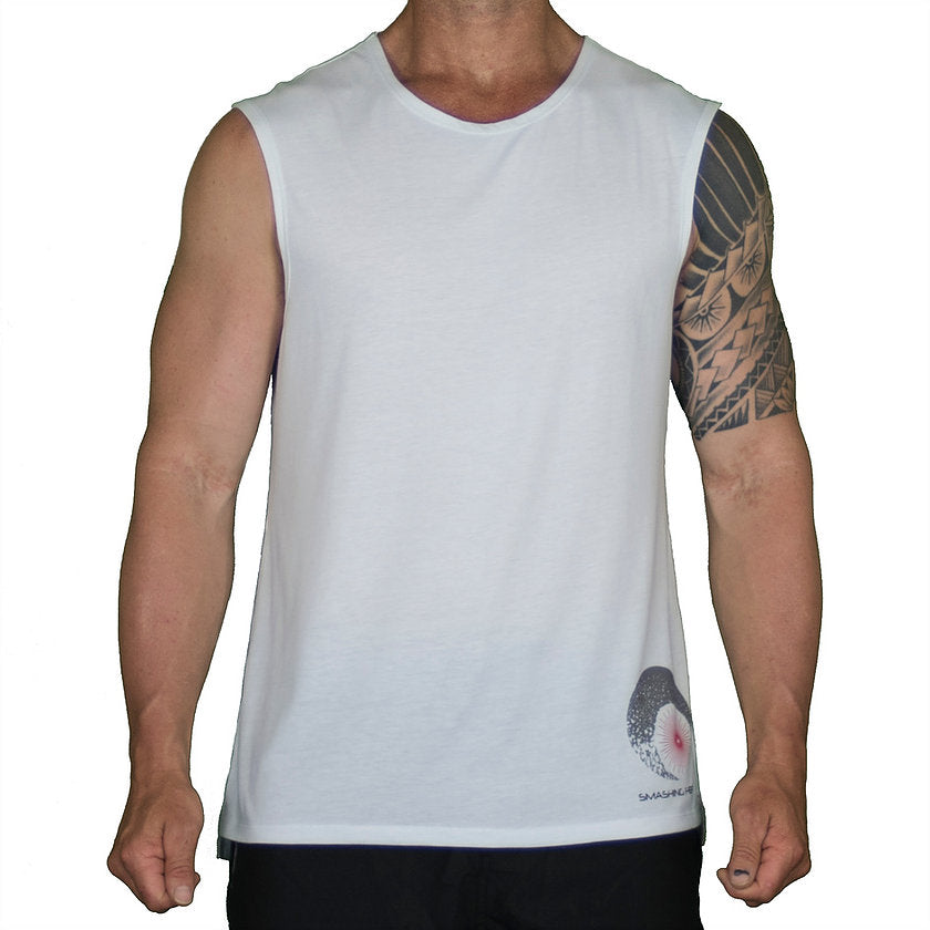 NORMAL CUT MUSCLE TEE – WHITE