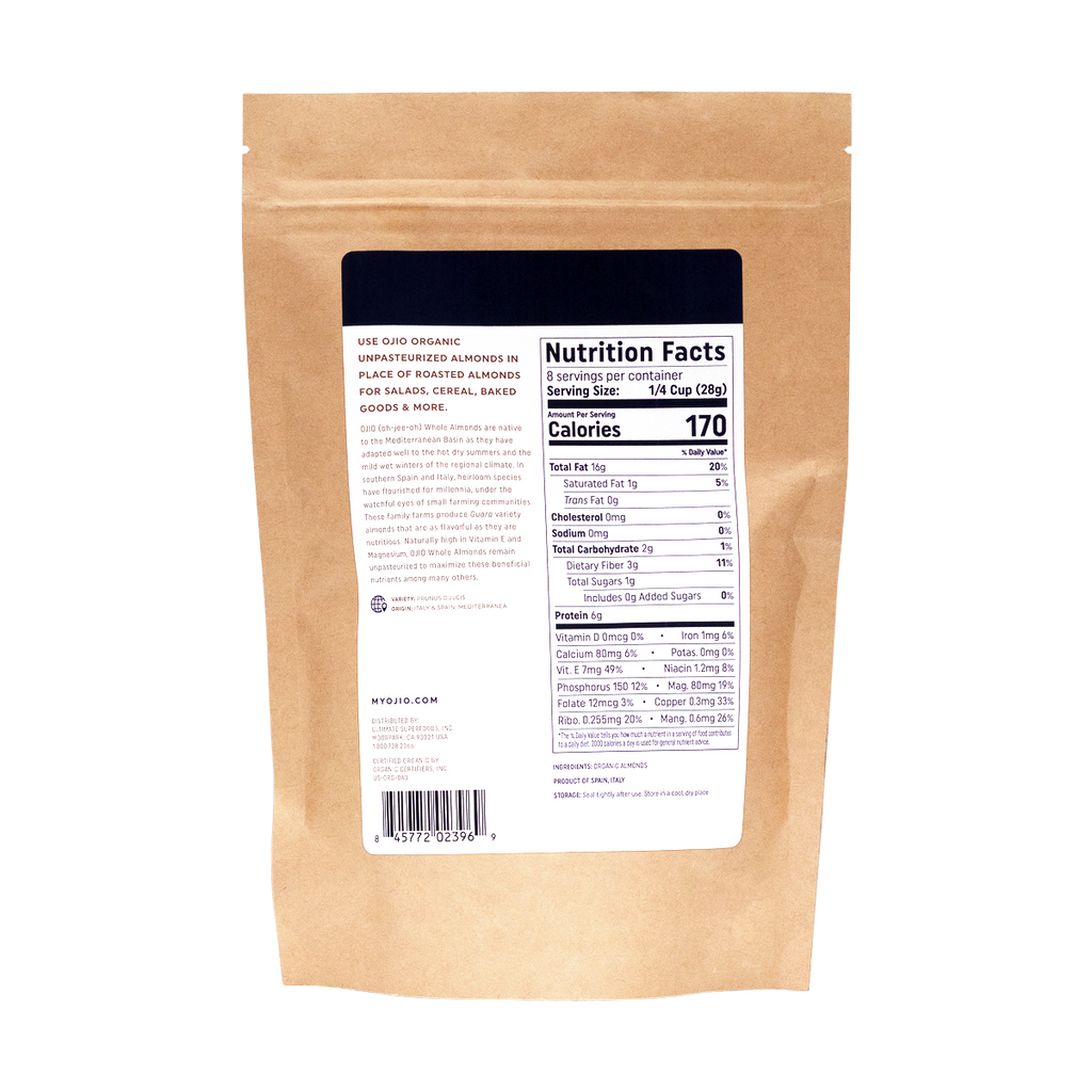 Unpasteurized Almonds | Organic | Kosher - 8 oz