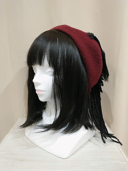 ANGEL WINGS BERET (BLACK×RED)