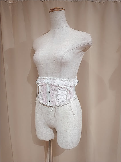 LACE UP VERY SHORT CORSET(WHITE × PINK)
