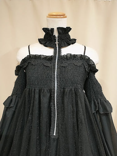 CHOKER ZIP DRESS (BLACK)