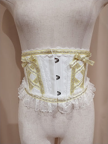 TYROLEAN LACE VERY SHORT CORSET ver.2 (WHITE×YELLOW)