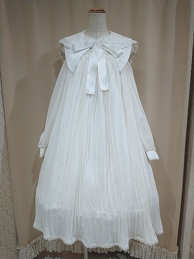 SAILOR COLLAR PLEATED DRESS (WHITE)