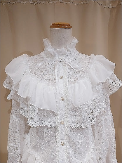 ANGEL SLEEVE LACE BLOUSE ( WHITE )