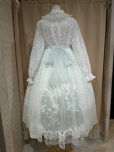 CHEMICAL LACE ERINGE NIGHT DRESS (WHITE-GREEN)