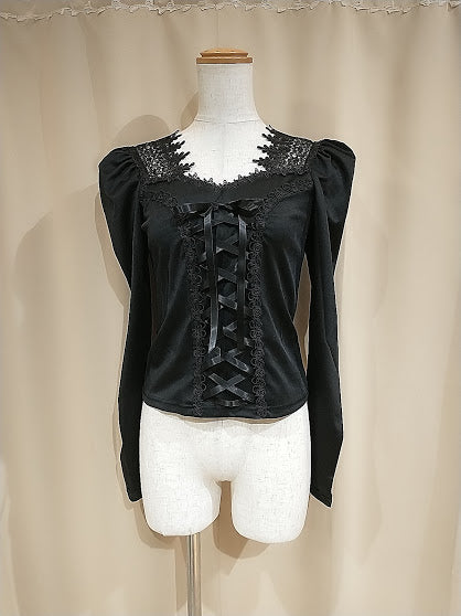 MUTTON SLEEVE LACE-UP TOPS (BLACK)