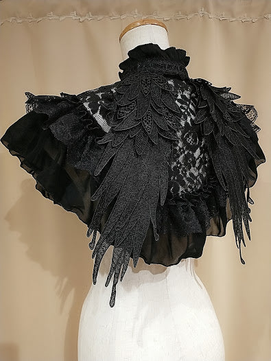 EPHEMERAL ANGEL WING MINI CAPE (BLACK)