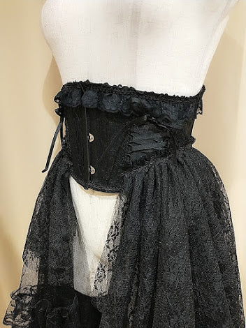 SIDE LONG LACE TAIL VERY SHORT CORSET(BLACK)