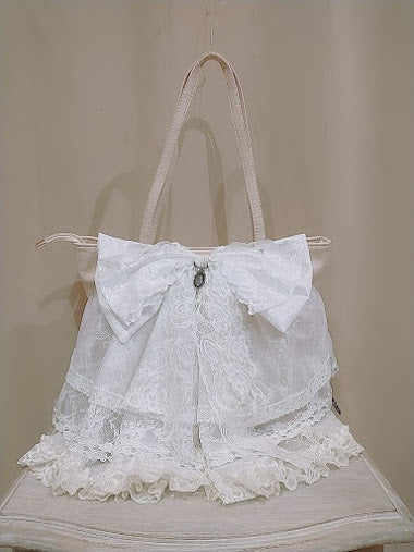 KEY CHARM FRILLED RIBBON TOTE BAG