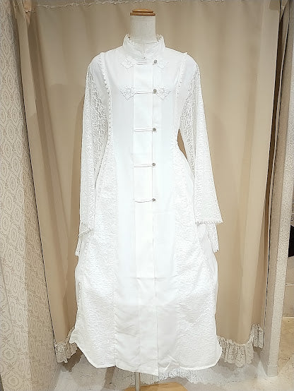 CHINA FLARE SLEEVE LONG DRESS ver.2 (WHITE)