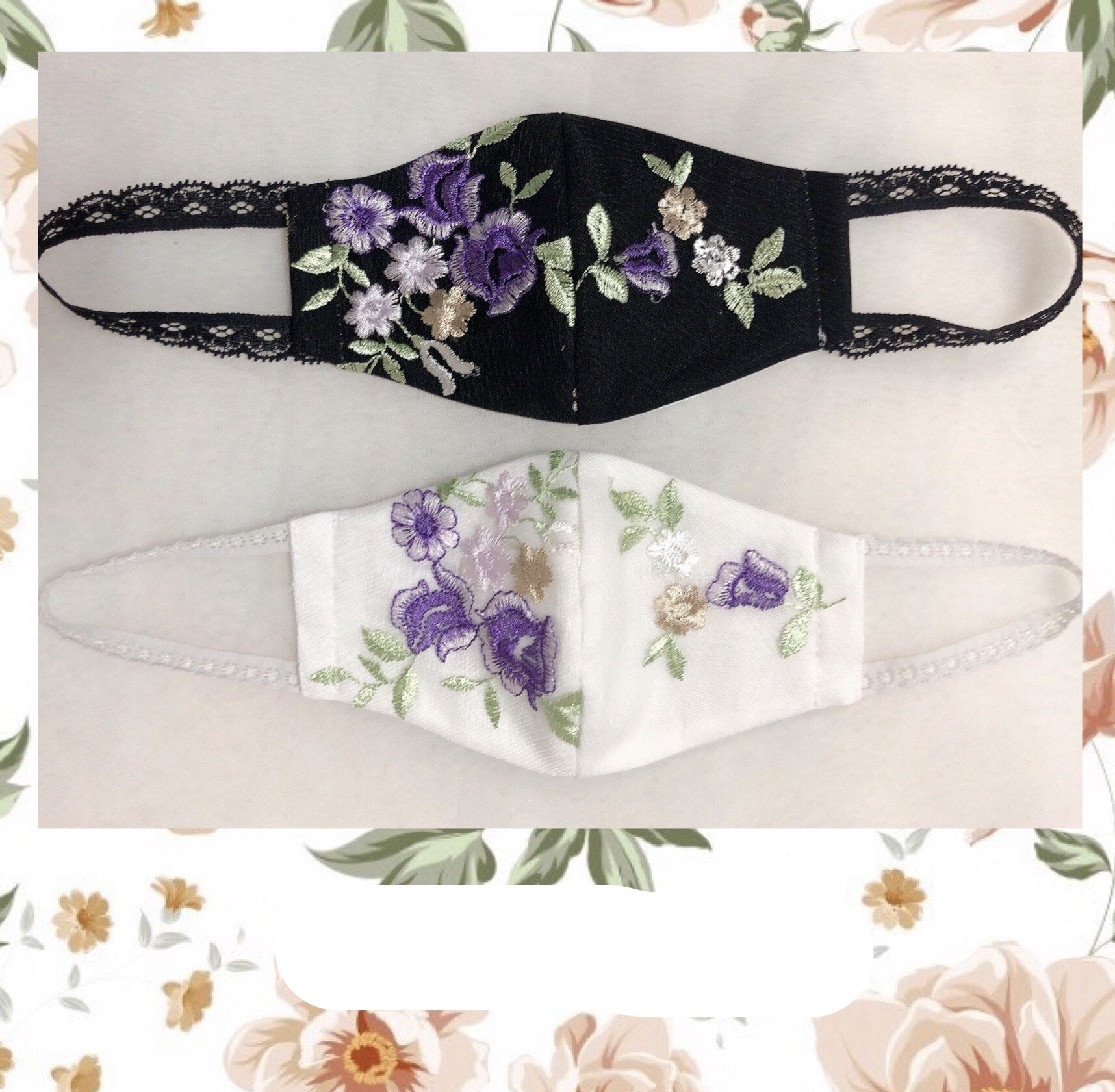 FLOWER EMBROIDERY FASHION MASK