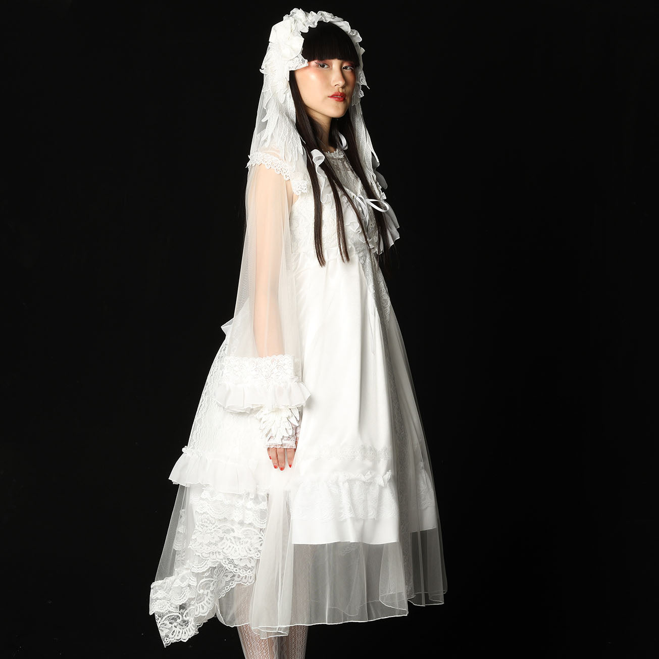 TULLE DRESS ROBE(WHITE)