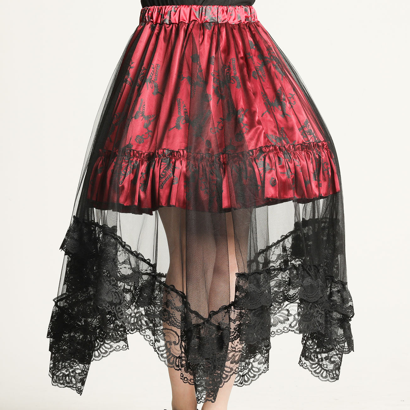 OVER TULLE BUTTERFLY PRINT SKIRT(RED)