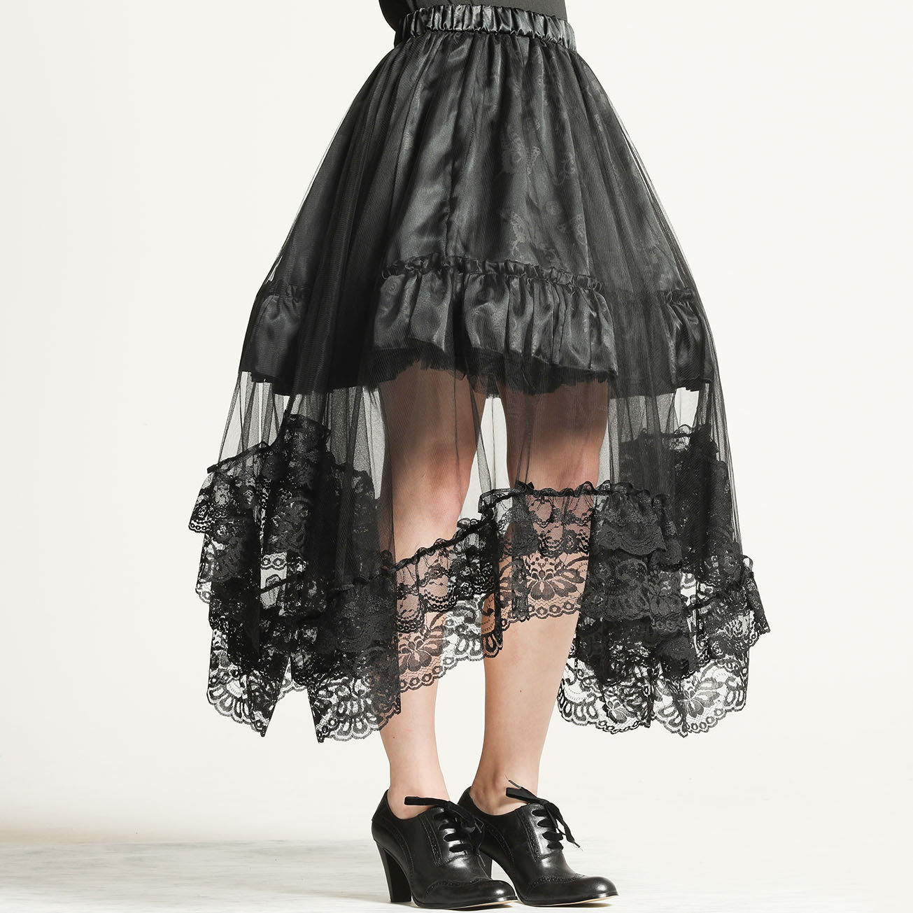 OVER TULLE BUTTERFLY PRINT SKIRT(BLACK)