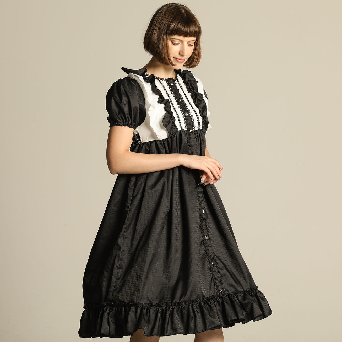 FRONT BUTTON PUFF SLLEVE DRESS