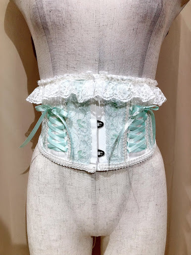 LACE UP VERY SHORT CORSET(WHITE×GREEN)