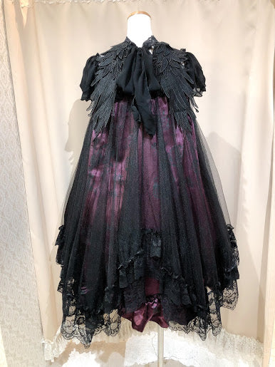 ANGEL WING LACE UP DRESS(DARK PURPLE)