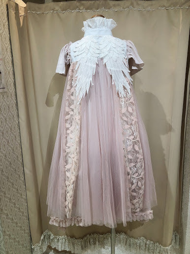 ANTIQUE DOLLY ANGEL WING DRESS(SMOKY PINK)
