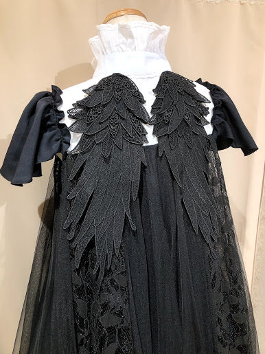 ANTIQUE DOLLY ANGEL WING DRESS(BLACK×WHITE)