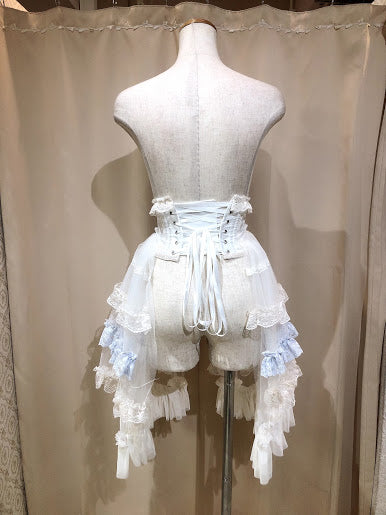 TIERED SIDE TAIL VERY SHORT CORSET(IVORY×BLUE)