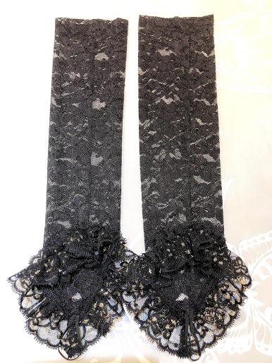 BUTTERFLY FINGERLESS LONG GLOVES(BLACK)