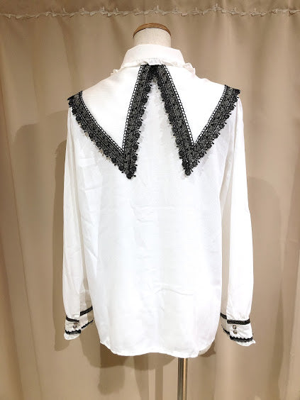 GOLD ROSE DOUBLE COLLAR BLOUSE(WHITE)