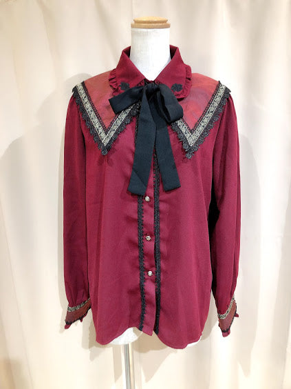 GOLD ROSE DOUBLE COLLAR BLOUSE(RED)