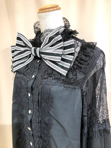 RIBBON GEORGETTE BLOUSE (BLACK×WHITE)