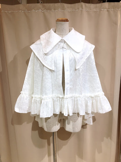DOUBLE COLLAR CHINA BUTTON CAPE (WHITE)