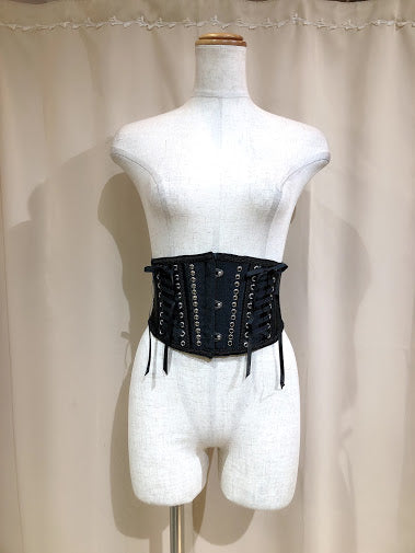 STUDS DOUBLE LACE UP VERY SHORT CORSET