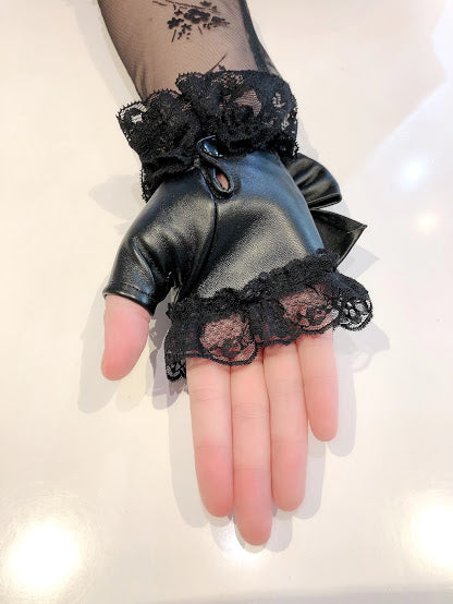 FINGERLESS SYNTHETIC LEATHER GLOVES