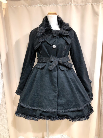 ASYMMETRY FUR COLLAR RIBBON COAT