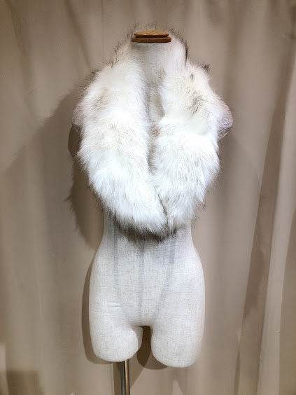 FUR SCARF WITH RIBBON (WHITE×WHITE)