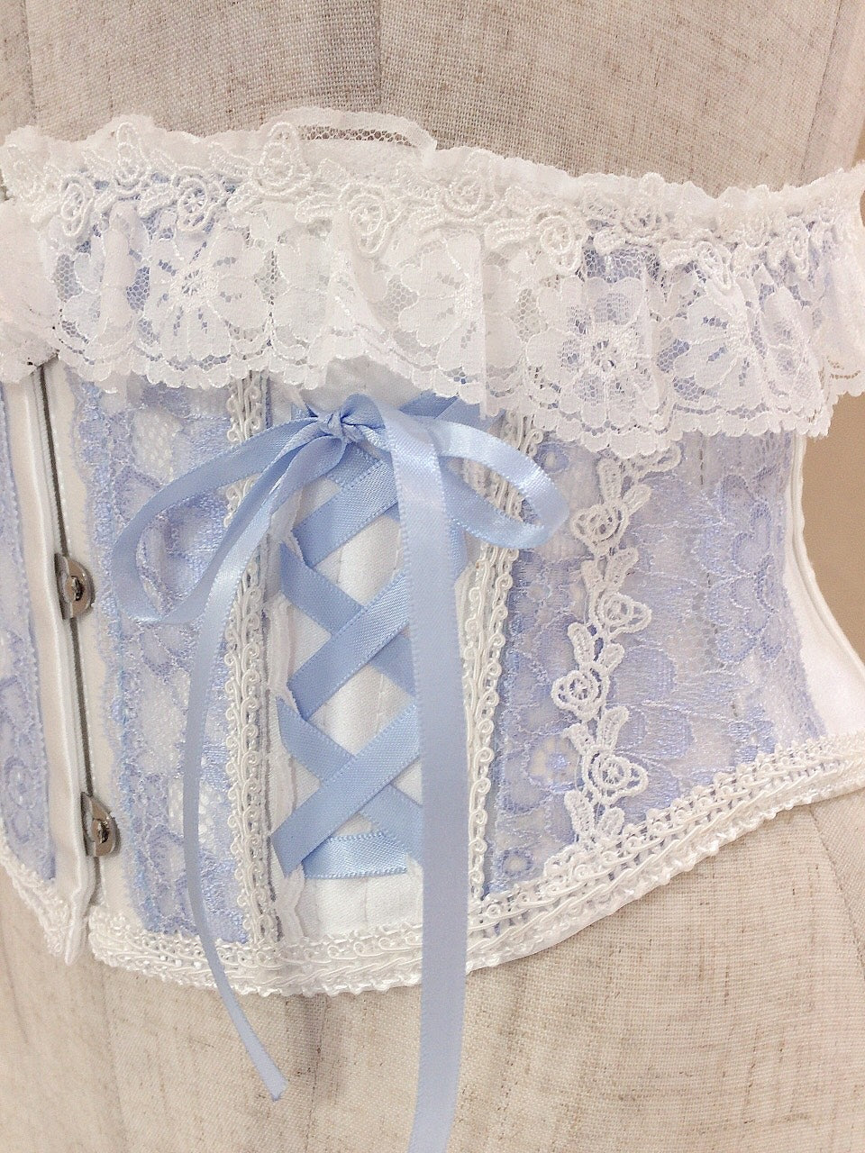 LACE UP VERY SHORT CORSET(WHITE×BLUE)