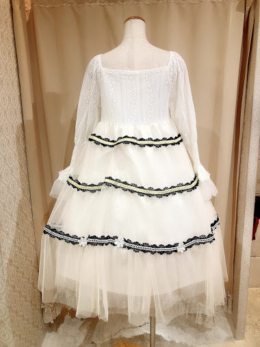 MAIDEN FLOWER DRESS (WHITE×IVORY)