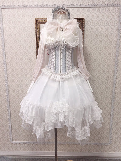 DOUBLE FRILL LACE UP HALF CORSET(WHITE×GRAY)
