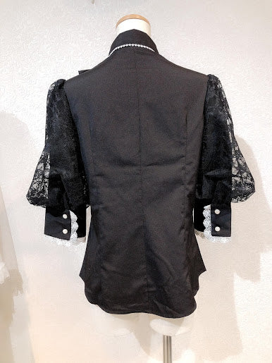 BALLOON SLEEVE BLOUSE (BLACK×WHITE)