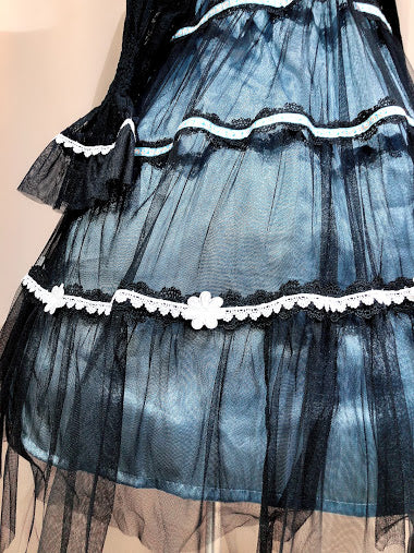 MAIDEN FLOWER DRESS (BLACK-BLUE)
