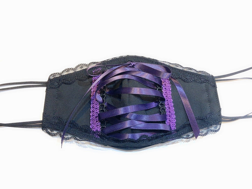 FRONT LACE UP FASHION MASK(BLACK×PURPLE)
