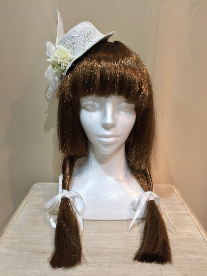 WHITE ROSE WING MINI HAT