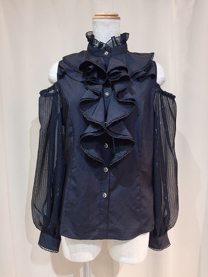 SHOULDER OPENING RUFFLE BLOUSE