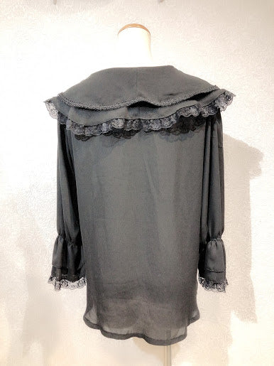 DOUBLE COLLAR CHIFFON BLOUSE(BLACK)