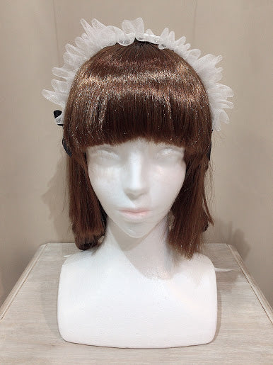 CROSS FLOWER LACE HEAD BAND(WHITE×BLACK)