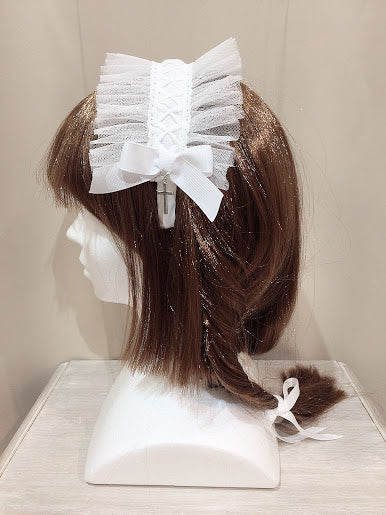 CROSS FLOWER LACE HEAD BAND(WHITE)