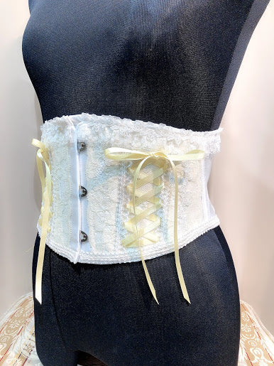 LACE UP VERY SHORT CORSET(WHITE×YELLOW)