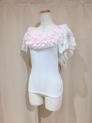 ANGEL WING CUT&SEW (WHITE×PINK)